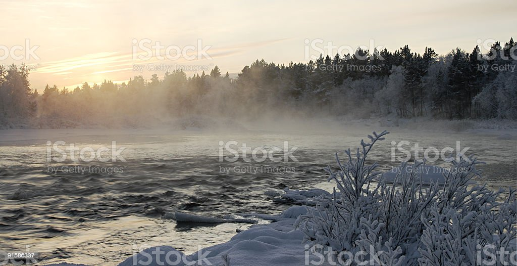 Smoke on the water. stock photo