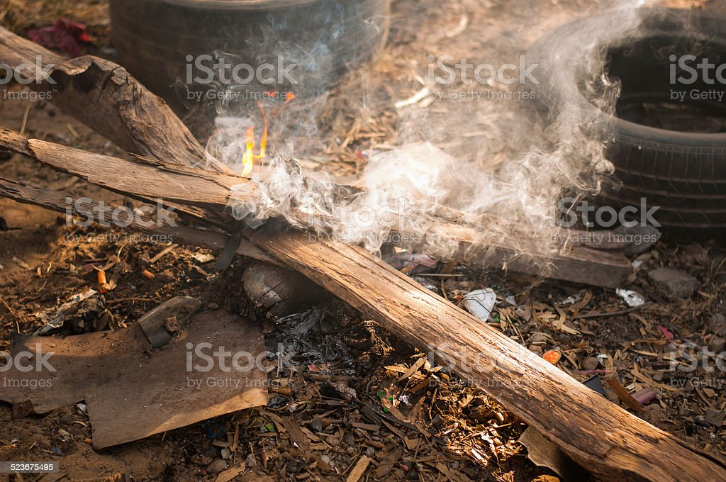 Smoke on the wood royalty-free stock photo