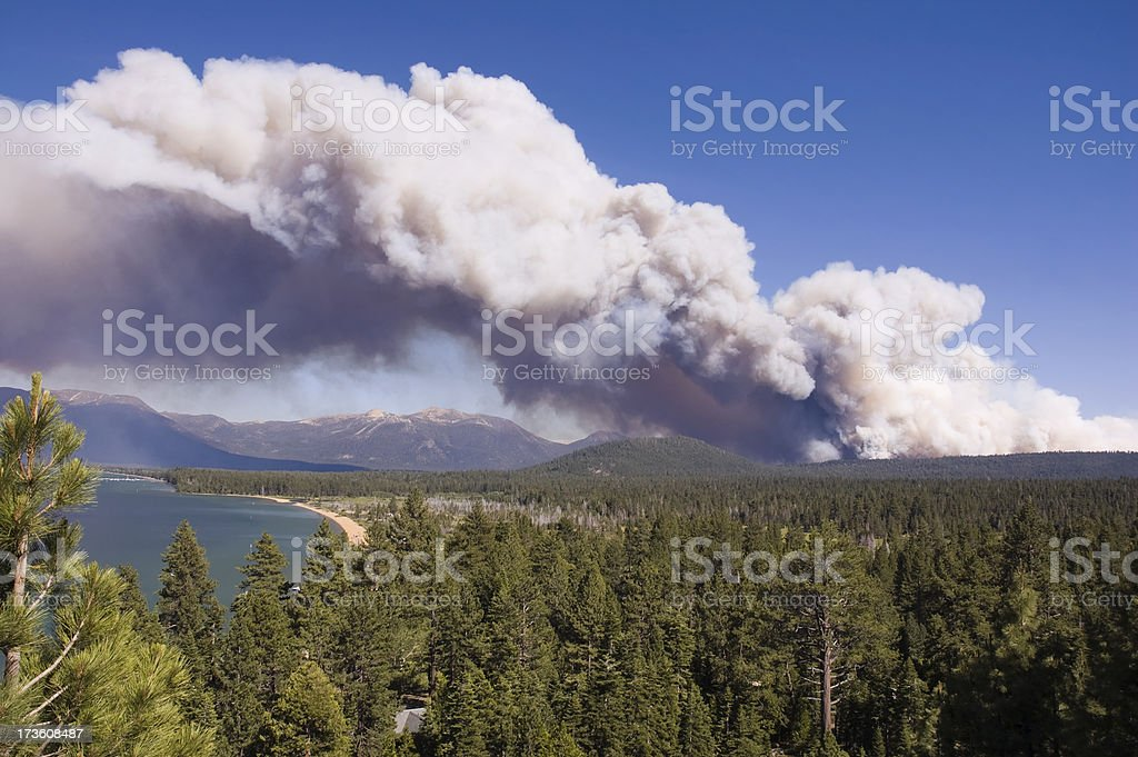 Smoke Plume from Lake Tahoe Forest Fire stock photo