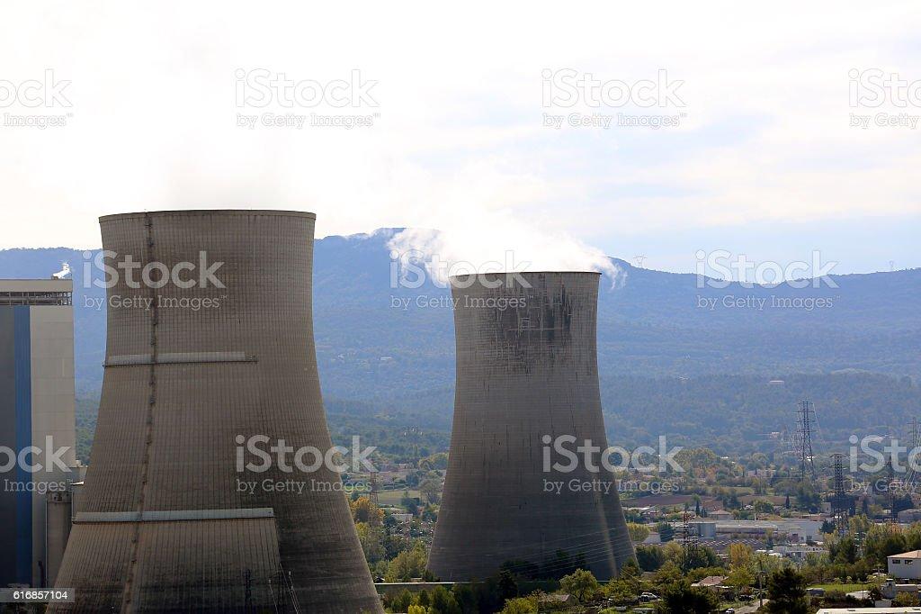 Smoke Pollution From Power Plant Smokestacks stock photo