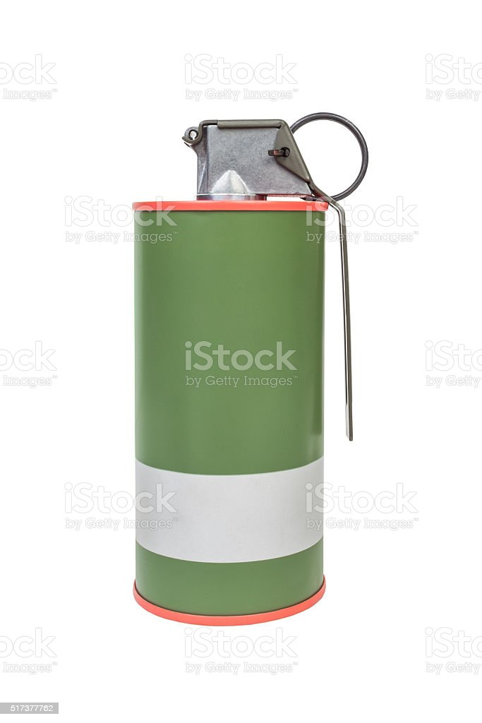 Smoke Red explosive model, weapon army,standard timed fuze stock photo