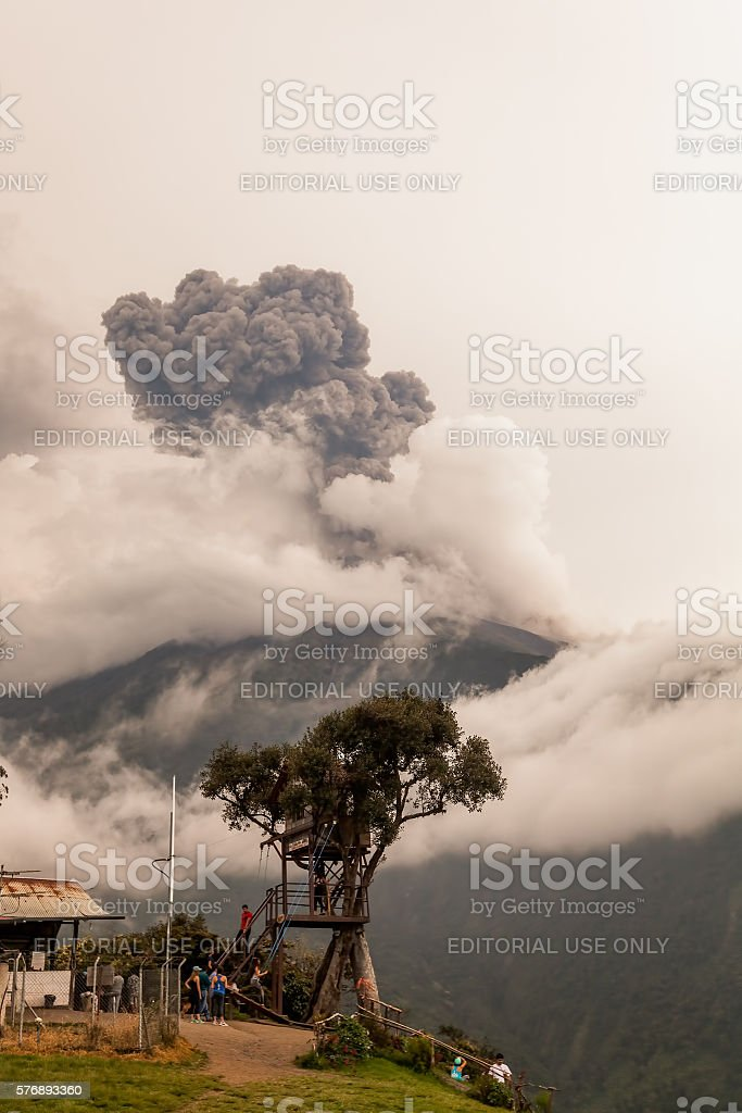 Smoke Rises From Tungurahua Volcano, March 2016 stock photo