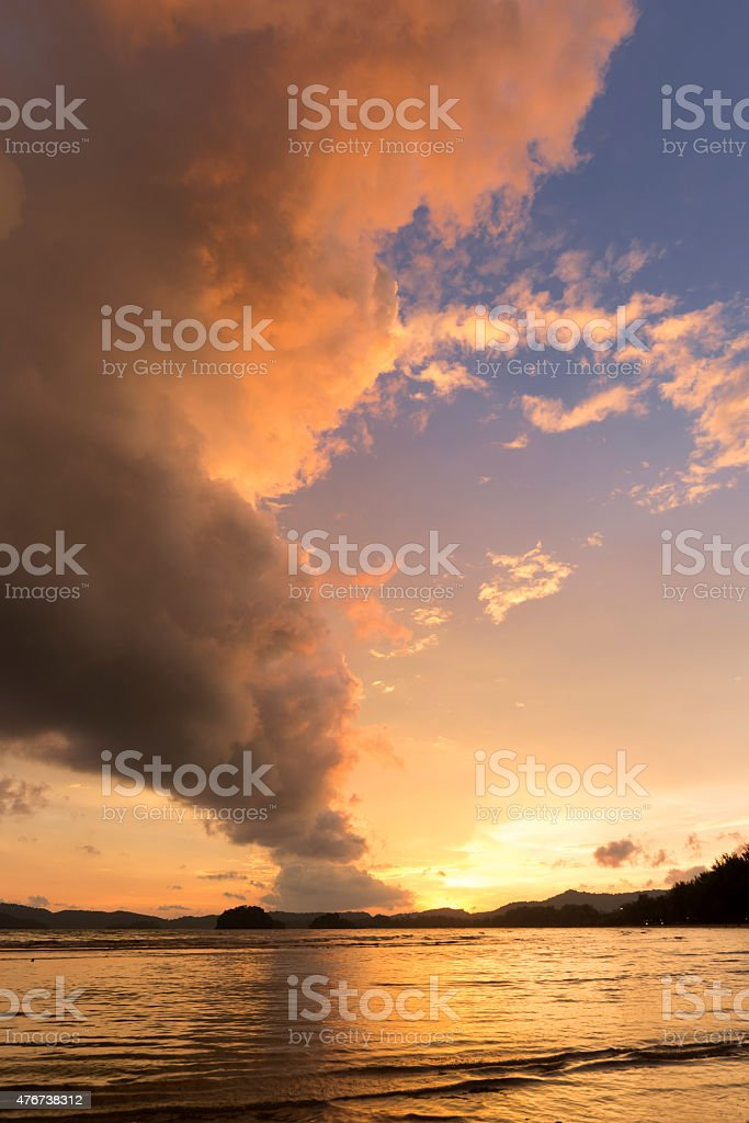 Smoke shaped cloud at beach in Thailand. stock photo