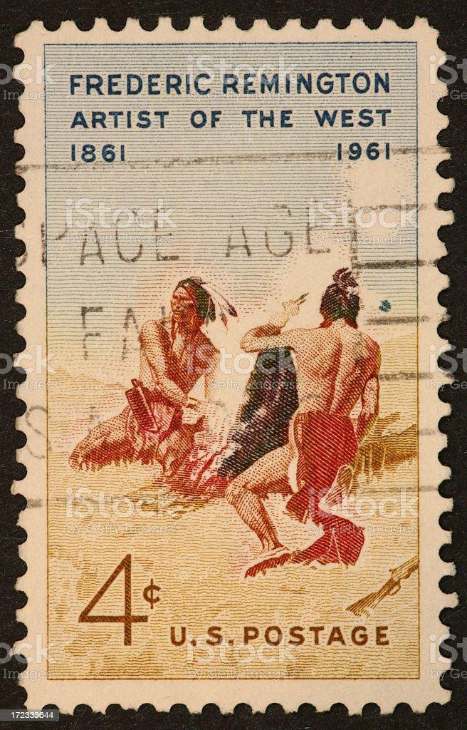 smoke signal Indian stamp royalty-free stock photo