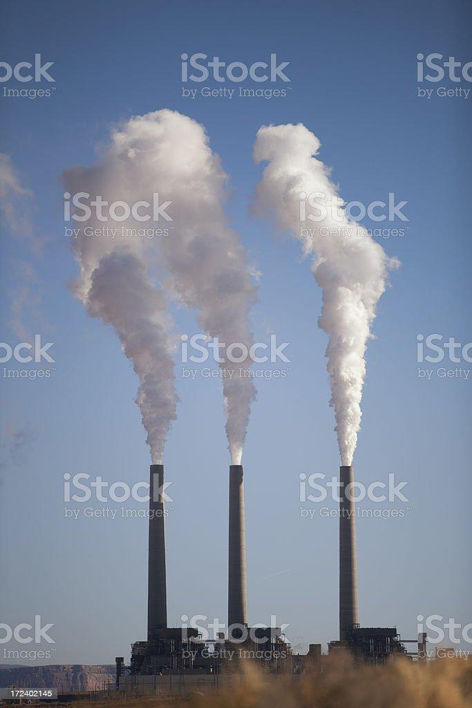 Smoke Stacks of coal Power Plant royalty-free stock photo