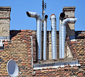 Smoke stacks on the roof