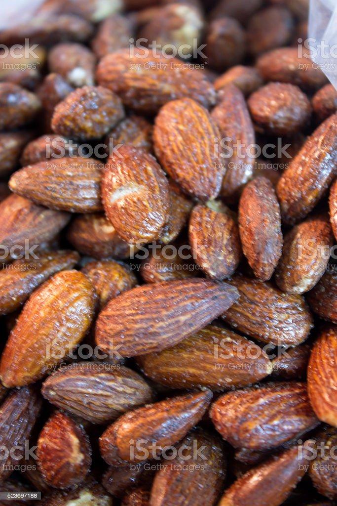Smoked Almonds background stock photo