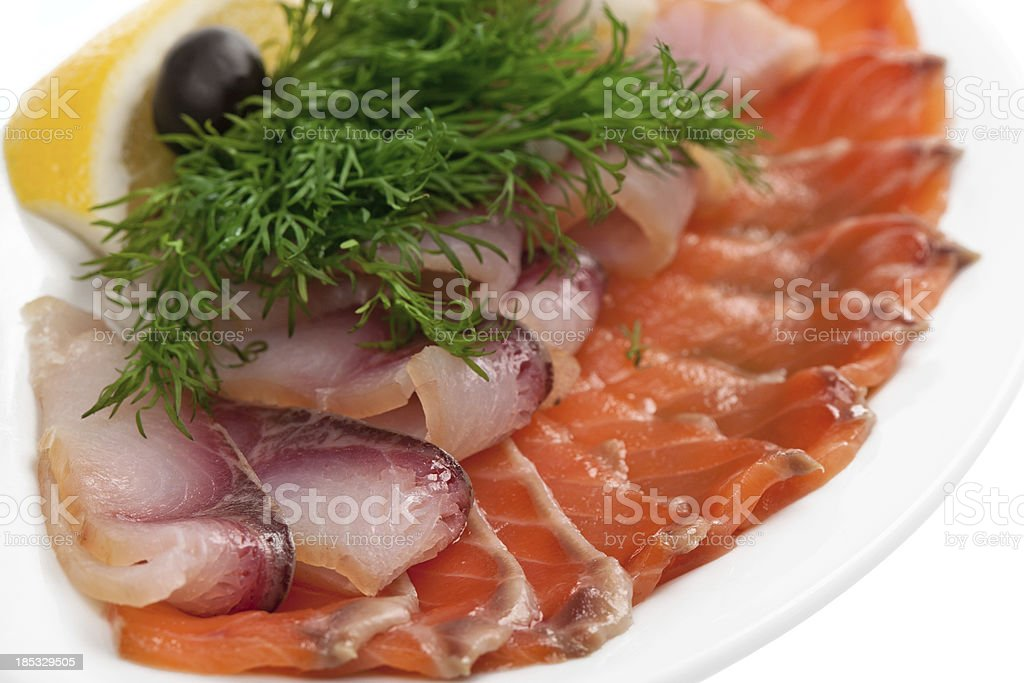 Smoked and salted fish stock photo