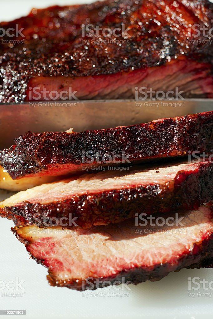 Smoked and sliced beef Brisket stock photo