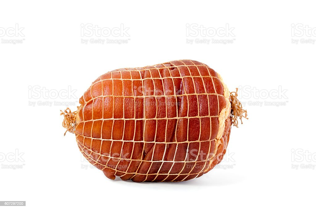 Smoked Boneless Ham Hock Wrapped in Netting stock photo