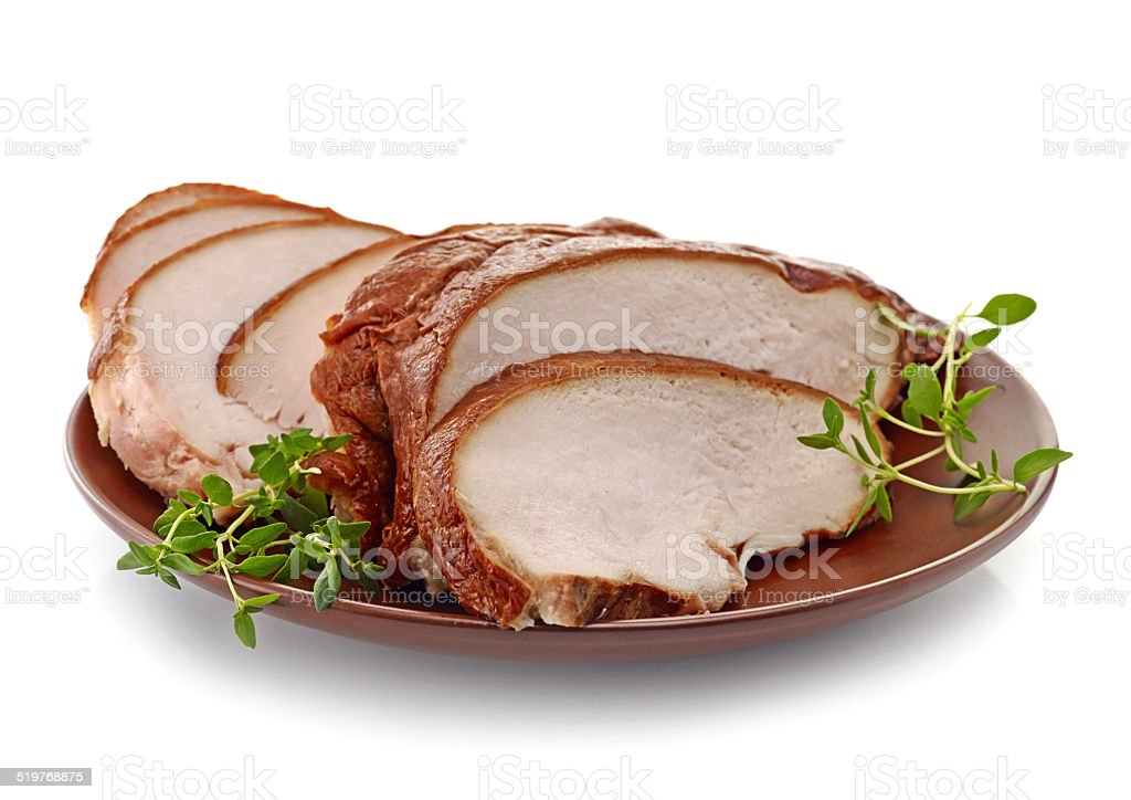 smoked chicken breast slices stock photo