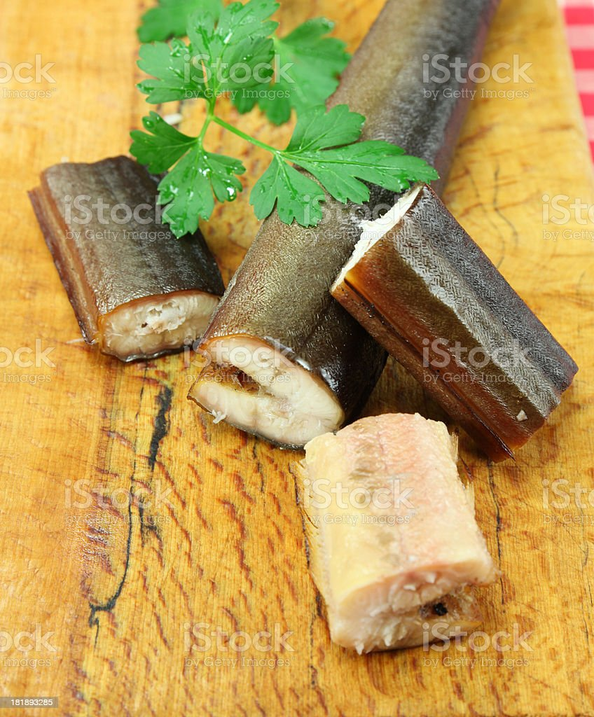 Smoked Eel or Räucheraal stock photo