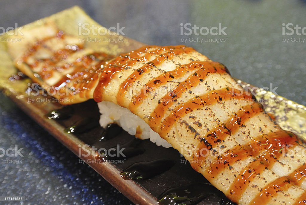 Smoked Eel Sushi royalty-free stock photo