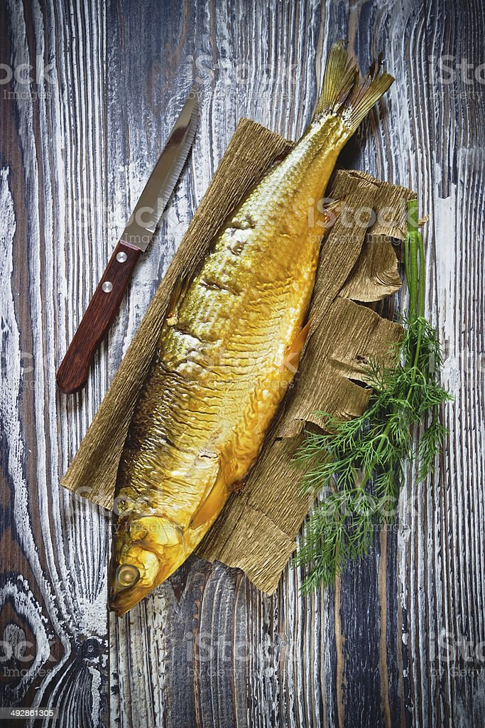 smoked fish and dil stock photo