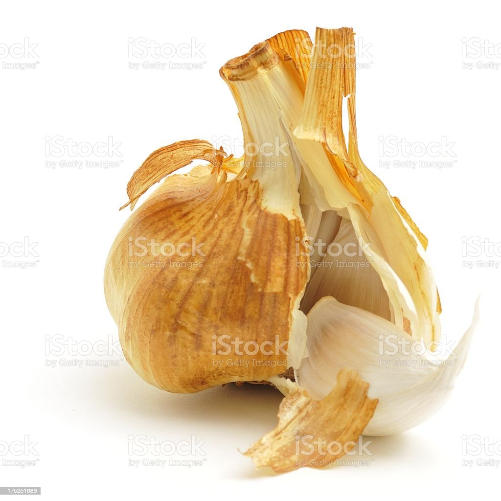 Smoked garlic bulb opened stock photo