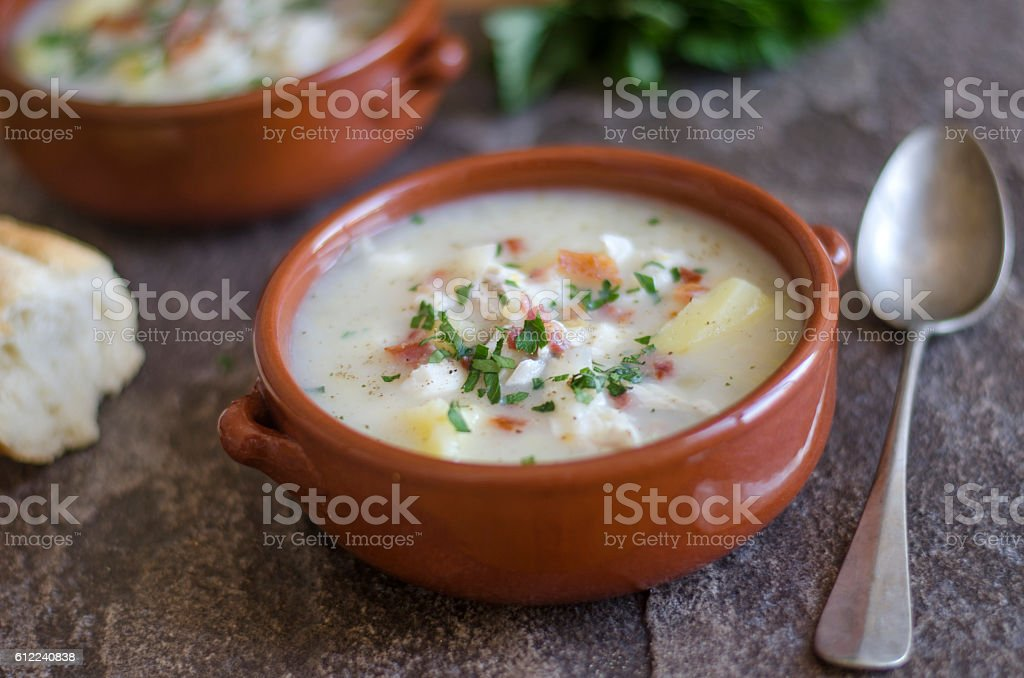 Smoked haddock chowder stock photo