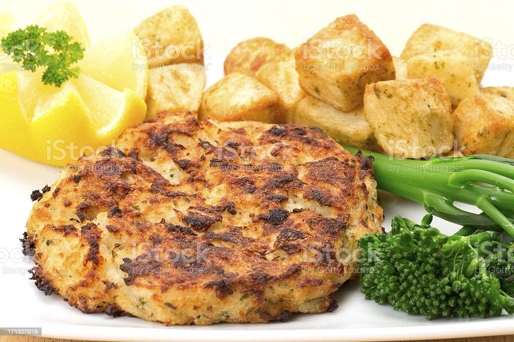 Smoked haddock fishcake dinner royalty-free stock photo