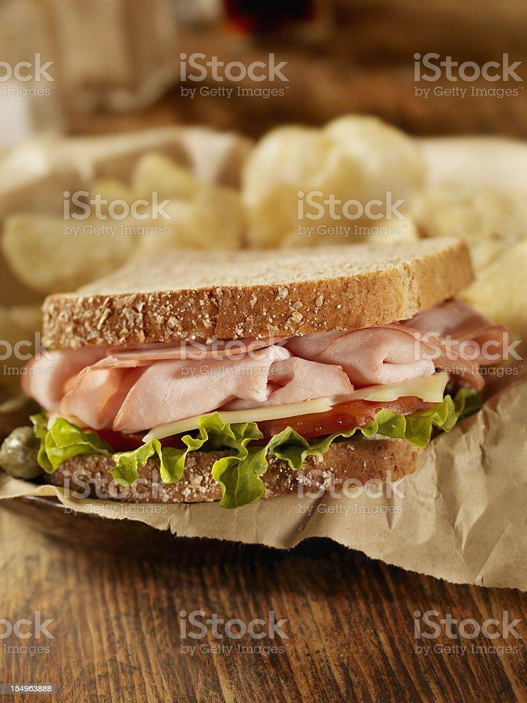 Smoked Ham and Swiss Sandwich stock photo