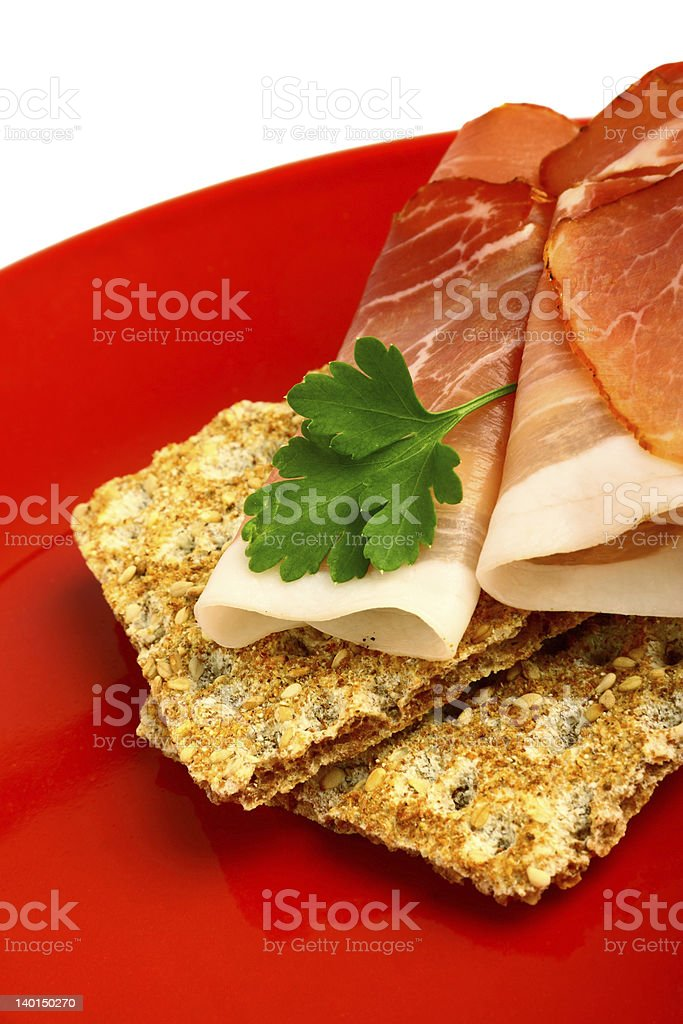 Smoked ham on wholemeal bread royalty-free stock photo