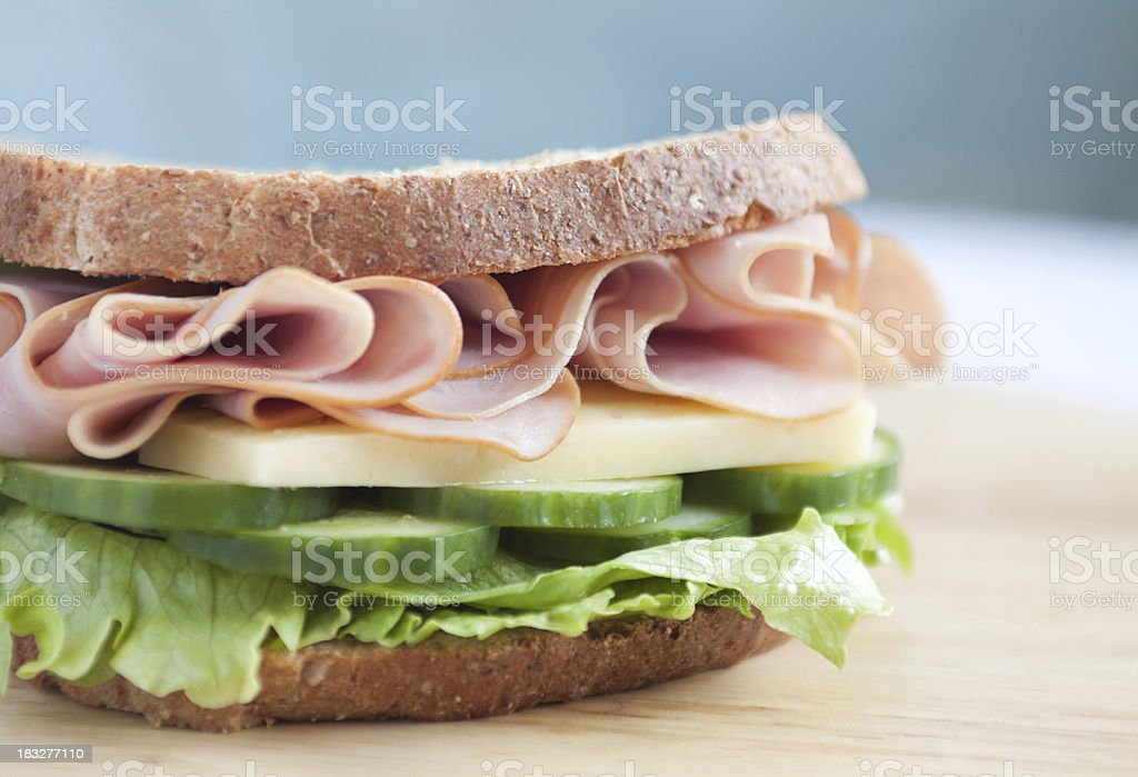 Smoked Ham Sandwich with Cheese royalty-free stock photo