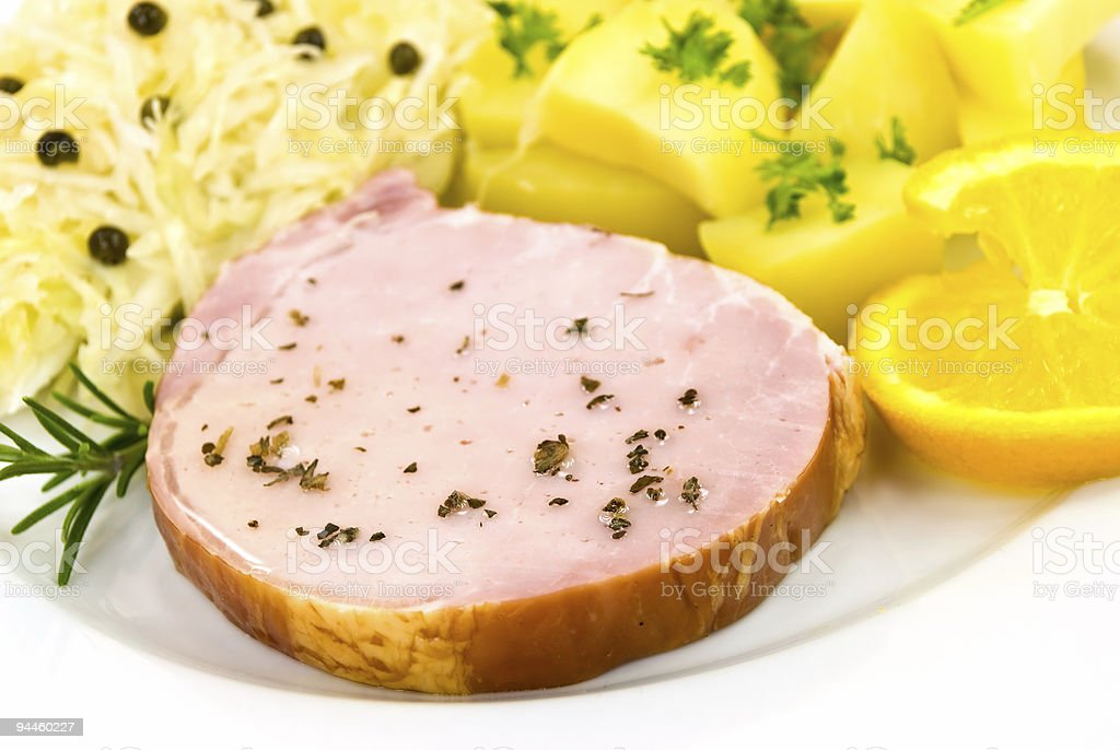 smoked ham with cabbage and boiled potatoes royalty-free stock photo