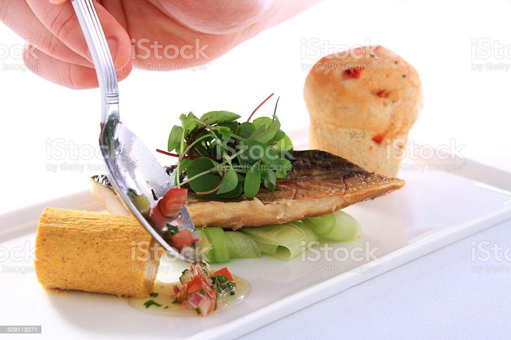 smoked mackerel plated starter stock photo