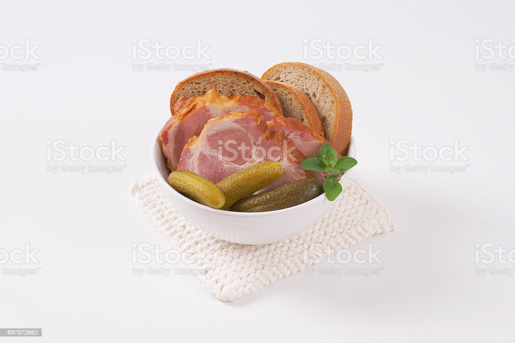 Smoked meat with breasd stock photo