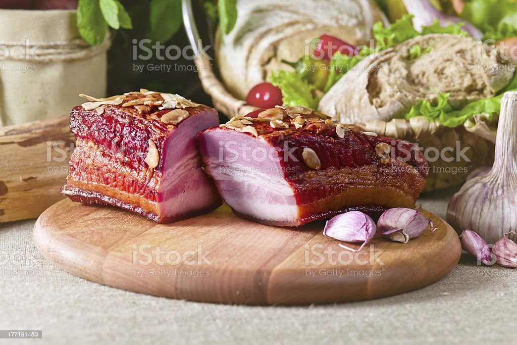 smoked meat with garlic royalty-free stock photo