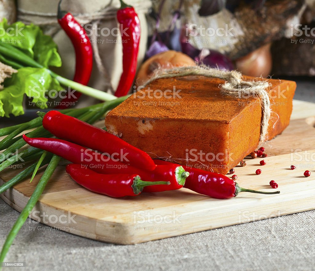 smoked meat with pepper royalty-free stock photo