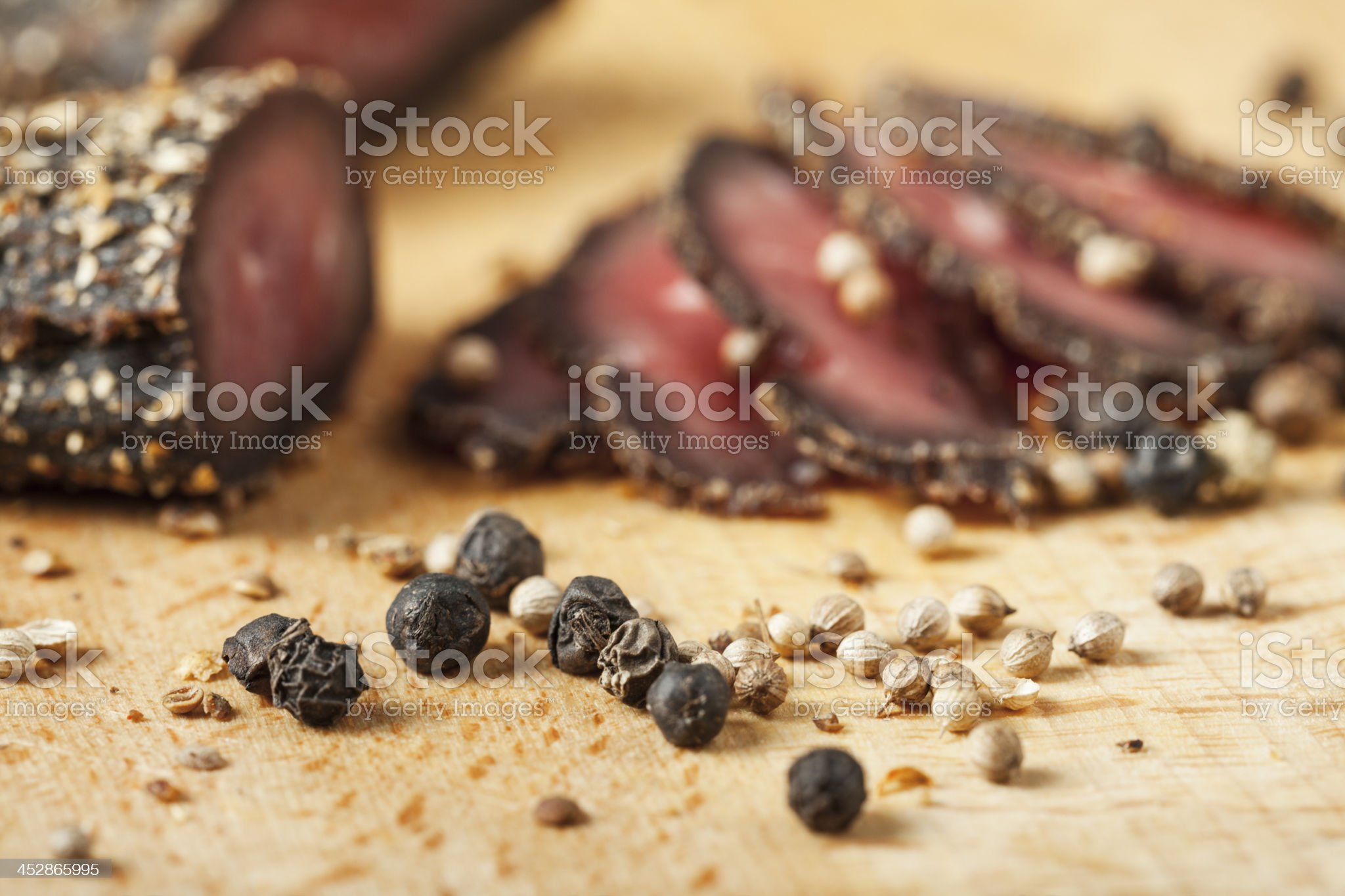 Smoked meat with spices royalty-free stock photo