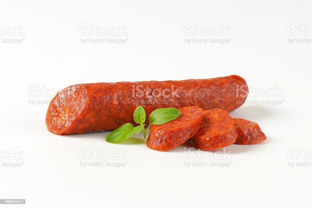 Smoked paprika spiced sausage stock photo