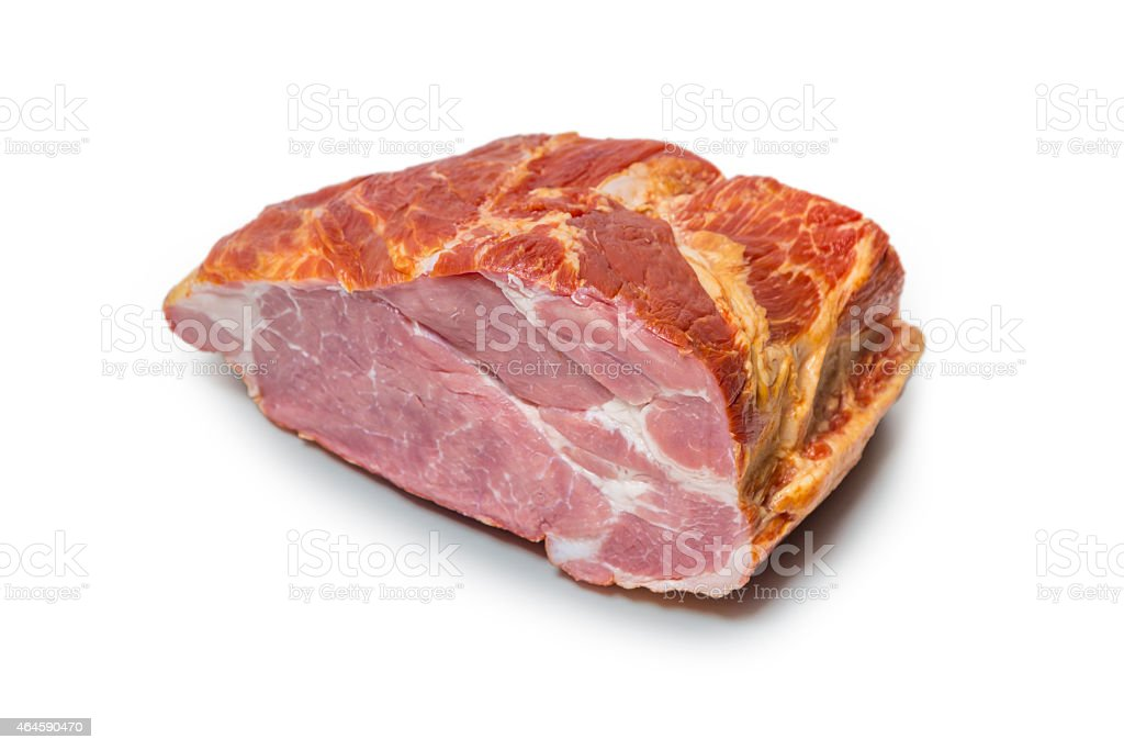smoked pork chop on white stock photo