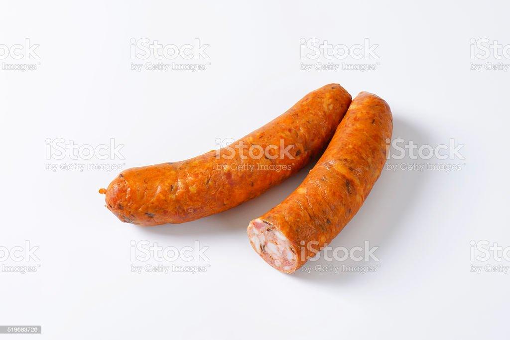 Smoked pork sausages stock photo