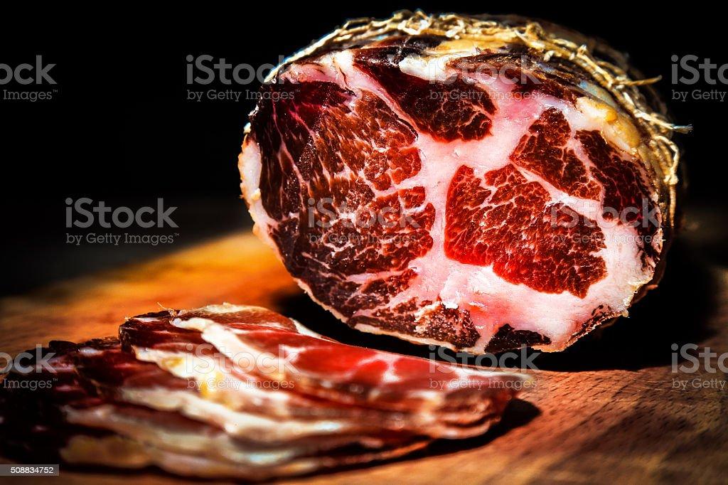 Smoked Prime Rib Steak Meat delicatessen stock photo