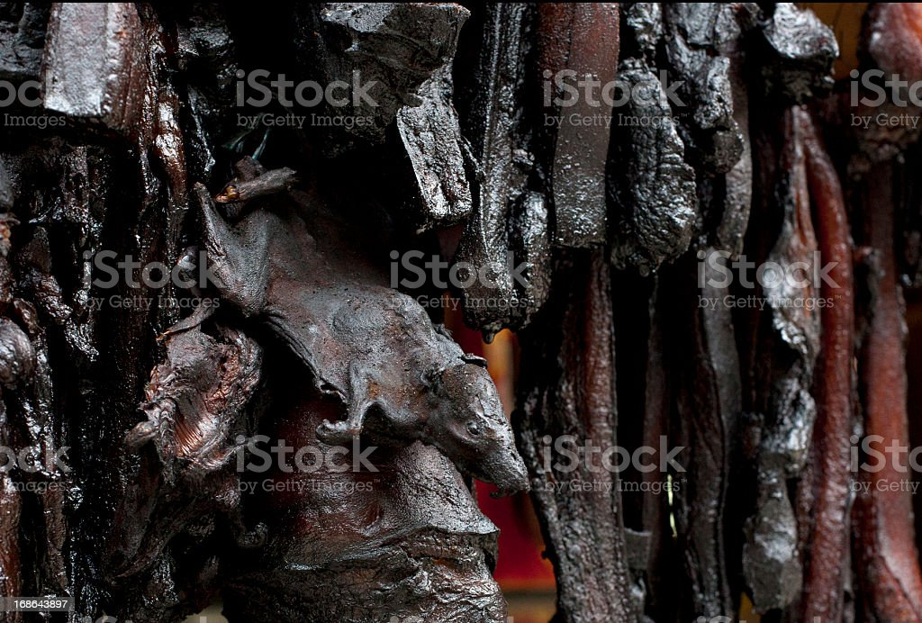 Smoked Rat and pork meat, Longsheng, China stock photo