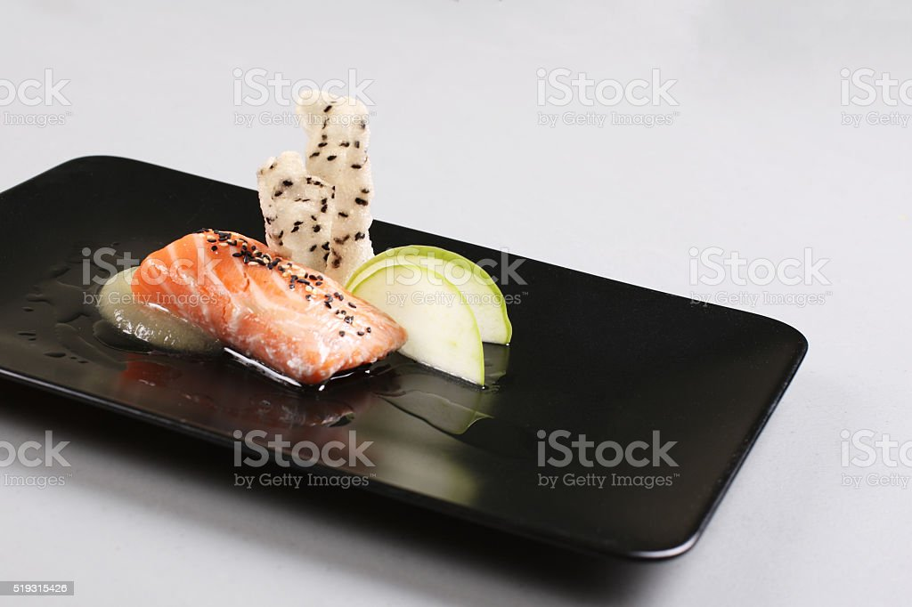 Smoked salmon and sauce cooked by molecular gastronomy technic stock photo