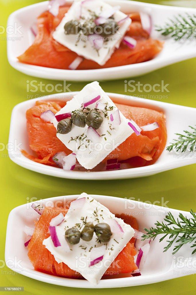 Smoked Salmon Appetizer stock photo