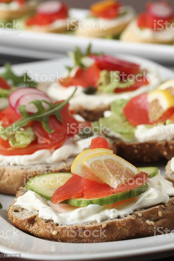 Smoked salmon appetizers royalty-free stock photo