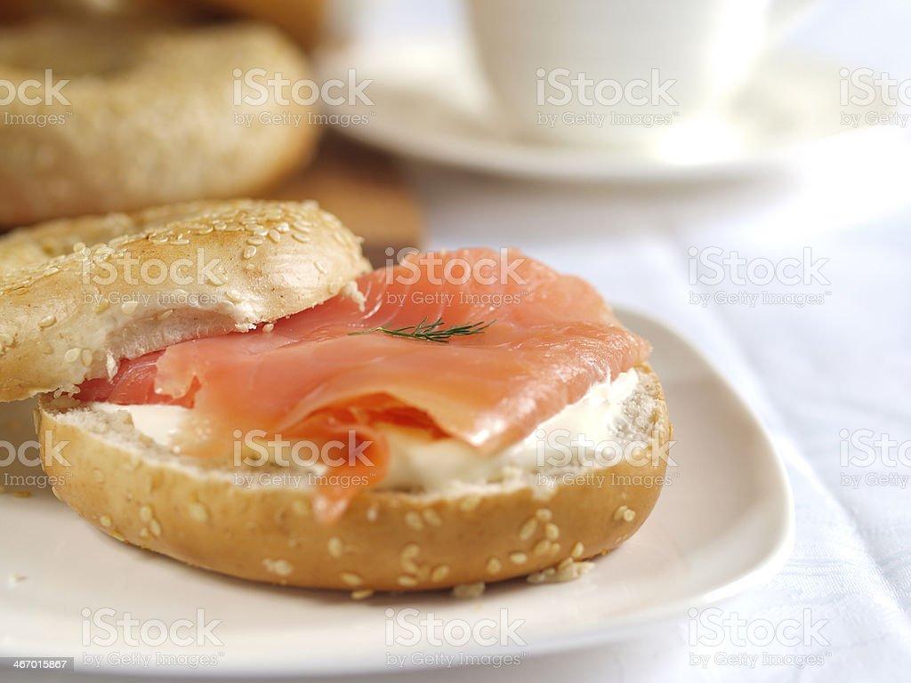 Smoked salmon Bagel royalty-free stock photo