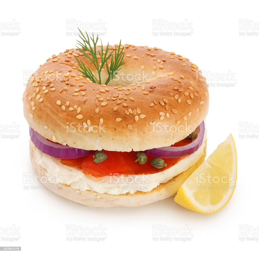 Smoked Salmon Bagel (with path) stock photo