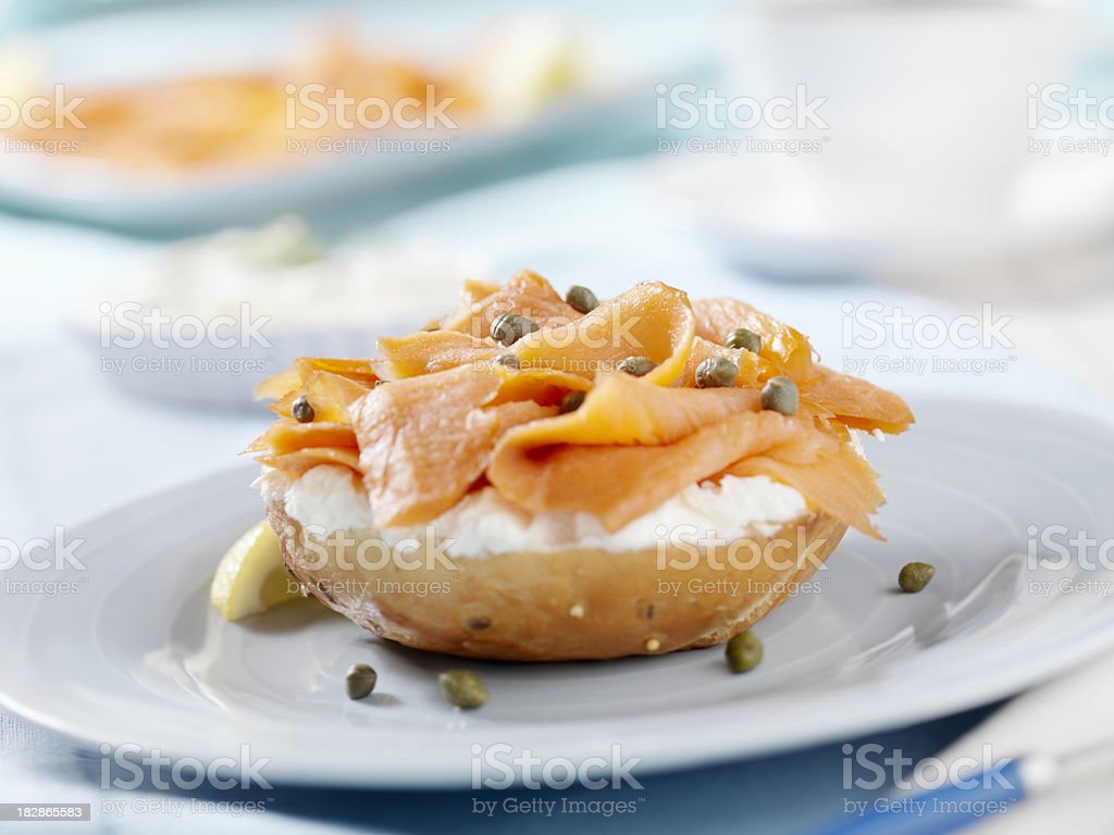 Smoked Salmon Bagel with Cream Cheese and Capers royalty-free stock photo
