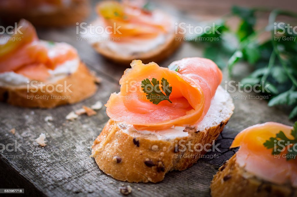 Smoked Salmon Bruschetta stock photo