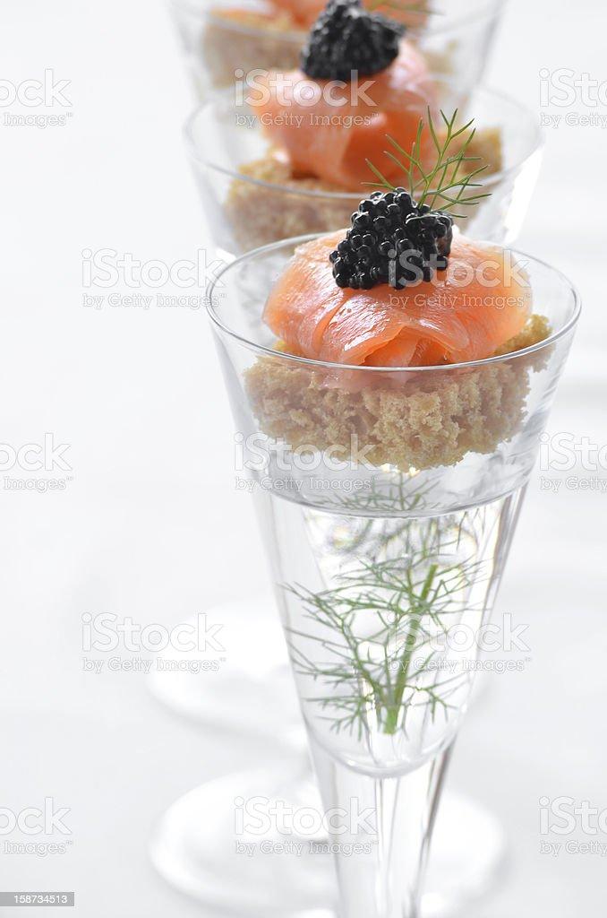 Smoked salmon canape with dill aquavit stock photo