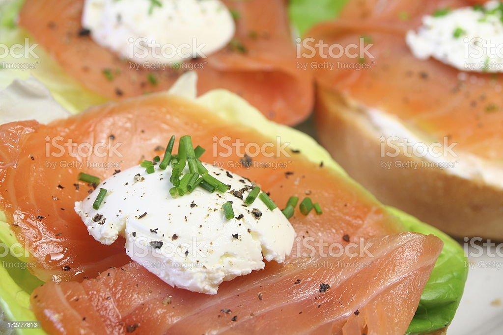 Smoked Salmon canapes royalty-free stock photo
