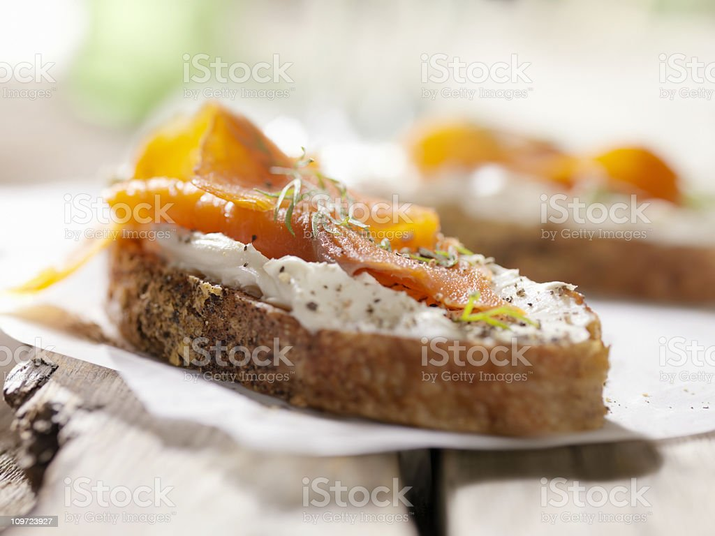 Smoked Salmon Canapes with Cream Cheese stock photo