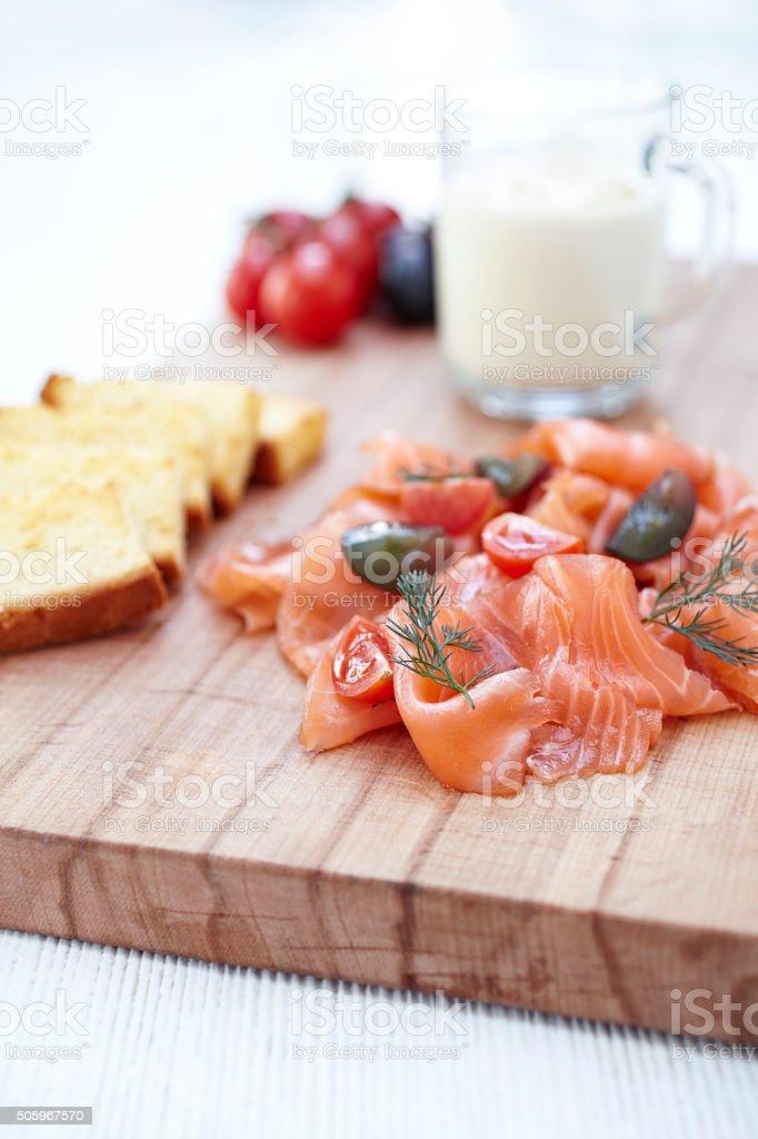 Smoked Salmon Carpaccio stock photo