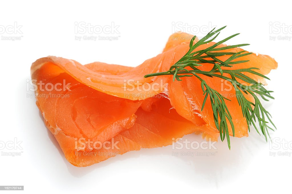 Smoked salmon isolated against a white background royalty-free stock photo