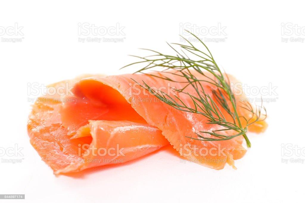 smoked salmon isolated on white stock photo