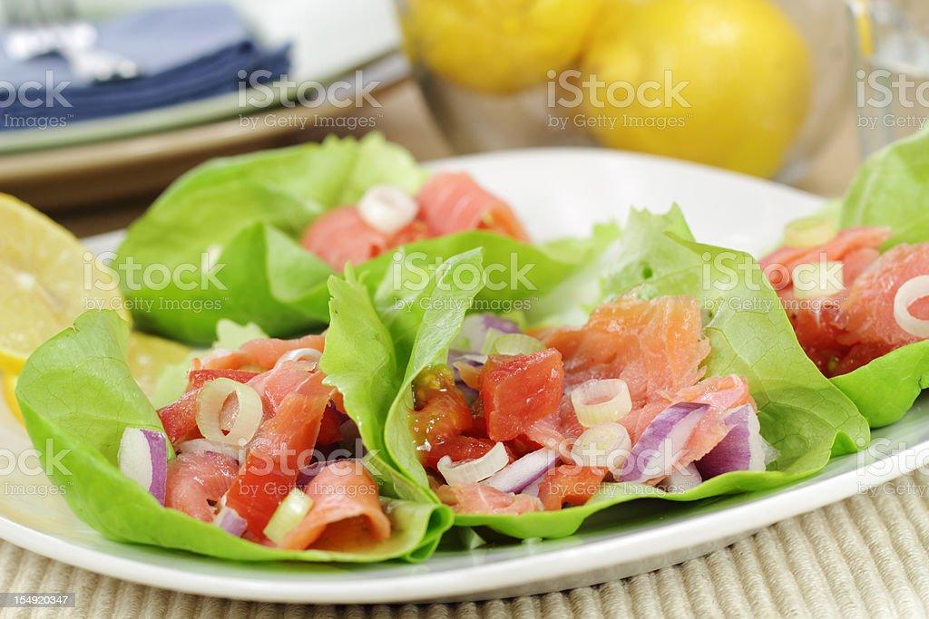Smoked Salmon Lettuce wraps stock photo