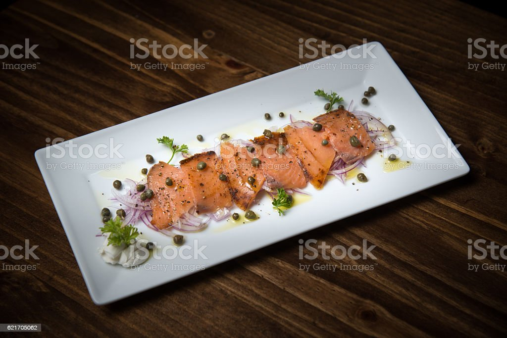 smoked salmon marine stock photo